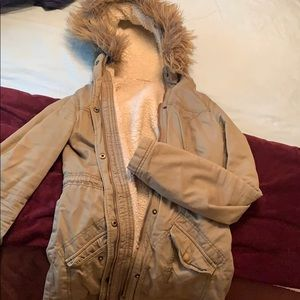 Army green Sherpa lined parka